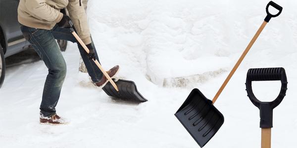 Lopata na sníh s dřevěnou násadou a PVC hrablem