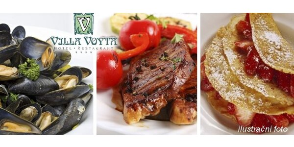 749 Kč za luxusní menu v hodnotě 1890 Kč PRO DVA v restauraci Villa Voyta!