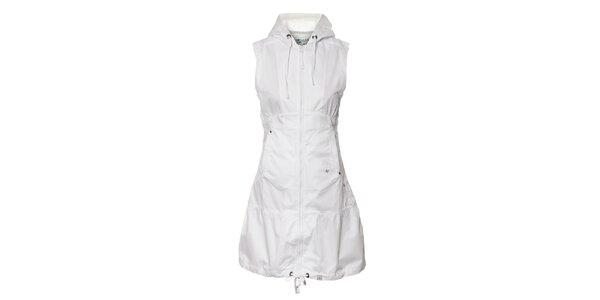Dámské bílé plátěné šaty Northland s kapucí a zipem