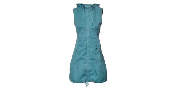 Dámské tyrkysově modré plátěné šaty Northland s kapucí a zipem