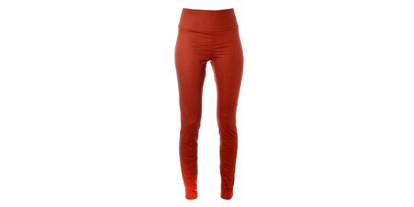 Dámské tmavě oranžové elastické kalhoty Pieces s vysokým pasem