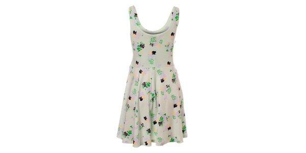 Dámské zelenošedé šaty Pieces s květinovým vzorem