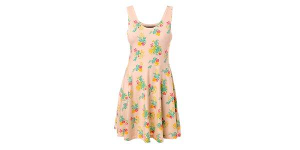 Dámské krémové šaty Pieces s květinovým vzorem