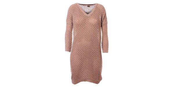Dámské pískové pletené šaty Object