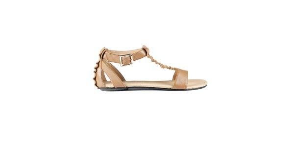 Dámské oříškově hnědé sandály Lise Lindvig s kanýry