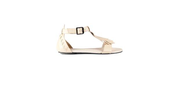 Dámské krémové kožené sandály Lise Lindvig