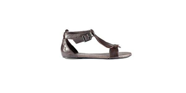 Dámské tmavě hnědé kožené sandály Lise Lindvig
