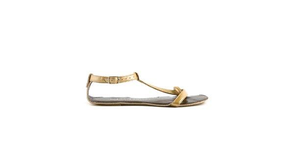 Dámské zlaté sandály Lise Lindvig s hnědou stélkou