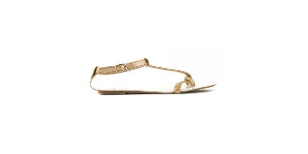 Dámské zlaté sandály Lise Lindvig s bílou stélkou