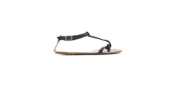 Dámské tmavě fialové sandály Lise Lindvig se stříbrnou stélkou