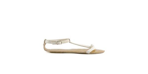 Dámské bílé sandály Lise Lindvig se zlatou stélkou