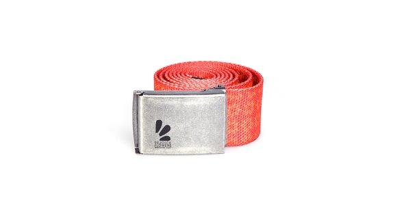Červený pásek Rejoice s kovovou sponou a veselým potiskem