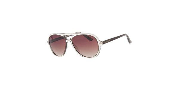Pánské transparentní sluneční brýle s hnědými skly Michael Kors