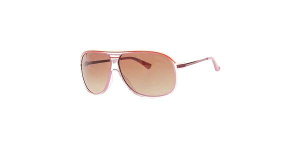 Dámské červenorůžové sluneční brýle s transparentními rámečky Michael Kors