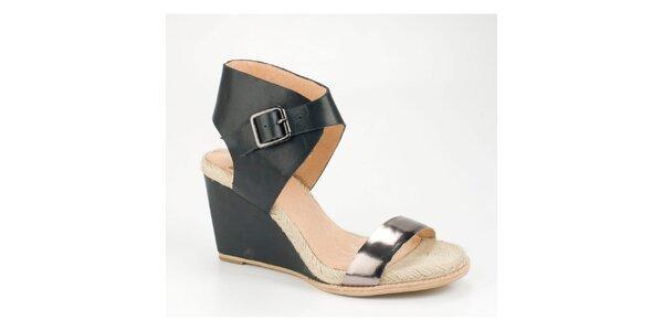 Dámské černé kožené sandály Bronx na vysokém klínku