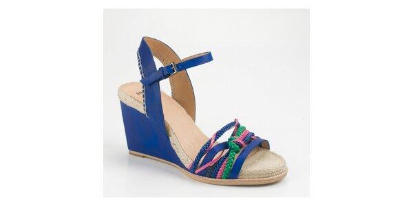 Dámské tmavě modré sandály Bronx na vysokém klínku