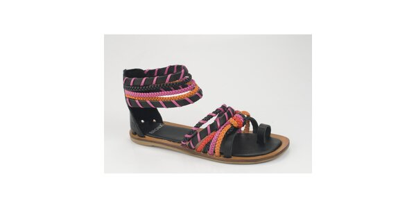 Dámské černo-růžové kožené sandály Bronx