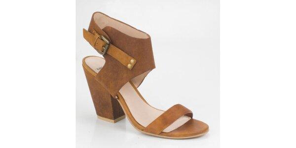 Dámské světle hnědé semišové sandály Bronx