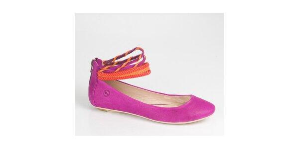 Dámské purpurové balerínky Bronx se stylovými pásky