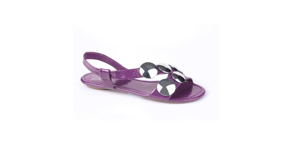 Dámské fialové lakované sandály Bronx s kovovými plackami