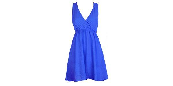 Dámské královsky modré šaty s krajkovými zády Mlle Agathe