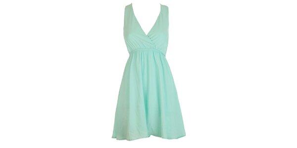 Dámské světle tyrkysové šaty s krajkovými zády Mlle Agathe