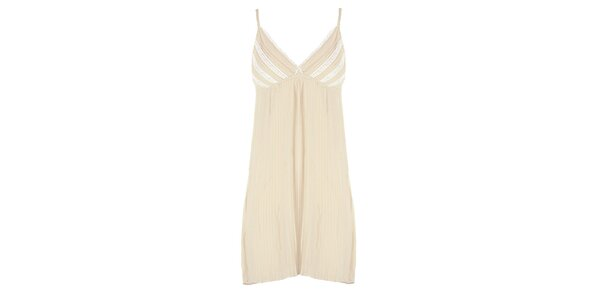 Dámské béžové plisované šaty s bílou krajkou Mlle Agathe