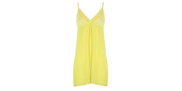 Dámské žluté plisované šaty s bílou krajkou Mlle Agathe