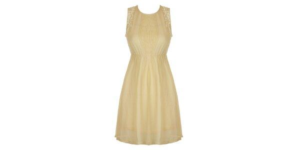 Dámské béžové šaty s krajkou a plisé Mlle Agathe