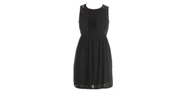 Dámské černé šaty s krajkou a plisé Mlle Agathe