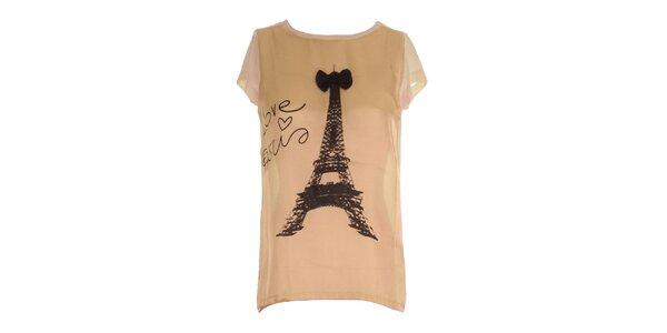 Dámské meruňkové triko s potiskem Eiffelovky Mlle Agathe