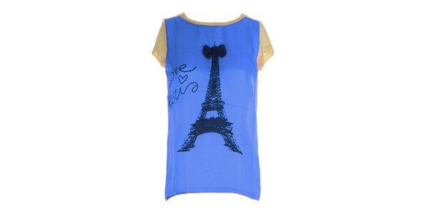 Dámské modro-béžové triko s potiskem Eiffelovky Mlle Agathe
