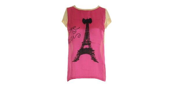 Dámské růžovo-béžové triko s potiskem Eiffelovky Mlle Agathe