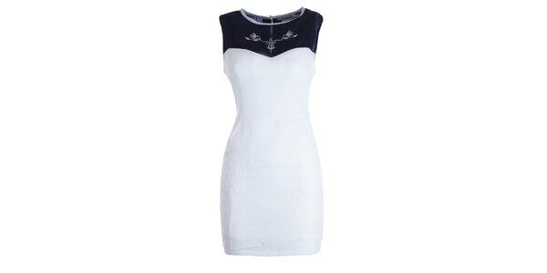 Dámské bílo-černé šaty s výšivkou Mlle Agathe