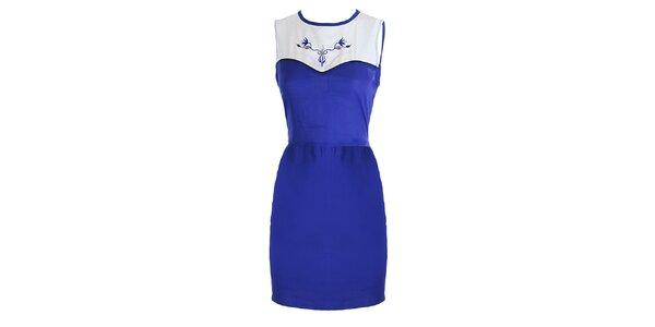 Dámské modro-bílé šaty s výšivkou Mlle Agathe