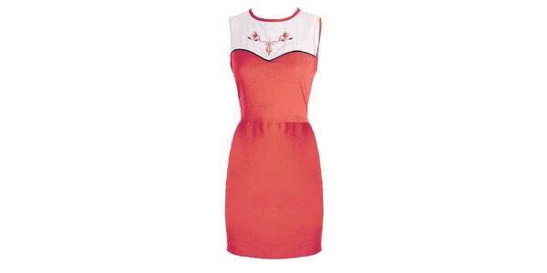 Dámské korálovo-bílé šaty s výšivkou Mlle Agathe