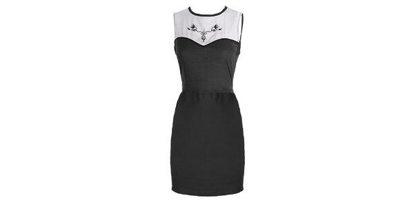 Dámské černo-bílé šaty s výšivkou Mlle Agathe