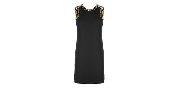 Dámské černé pouzdrové šaty se štrasovými kamínky Mlle Agathe