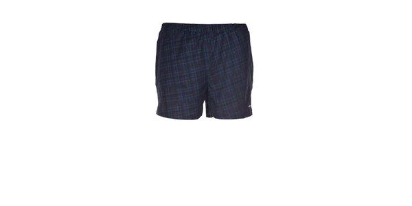 Pánské černo-modré kostkované elastické šortky Envy