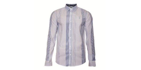 Pánská bílá košile Bendorff s úzkým tmavě modrým proužkem