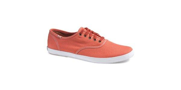 Pánské zářivě oranžové plátěné tenisky Keds s bílým prošíváním