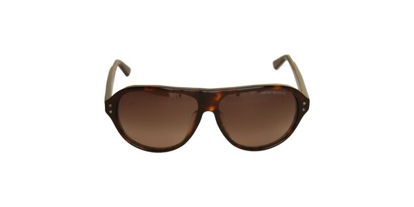 Hnědé sluneční brýle Emporio Armani se želvovinovým vzorem