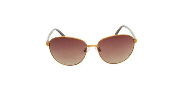Dámské žluto-hnědé sluneční brýle Calvin Klein