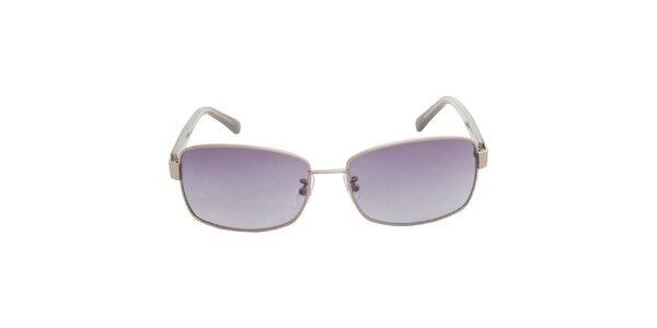 Dámské stříbrné sluneční brýle Calvin Klein s fialovými skly