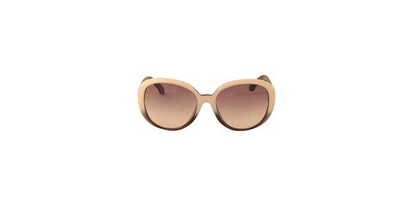 Dámské krémovo-hnědé sluneční brýle