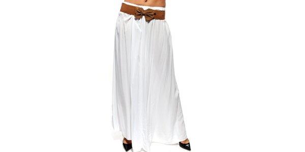 Dámská bílá dlouhá sukně s hnědým páskem Trois Quatorze