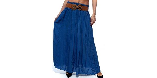 Dámská modrá dlouhá sukně s hnědým páskem Trois Quatorze
