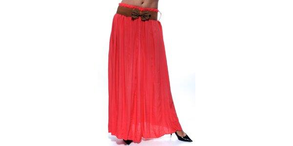 Dámská korálová dlouhá sukně s hnědým páskem Trois Quatorze