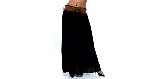 Dámská černá dlouhá sukně s hnědým páskem Trois Quatorze