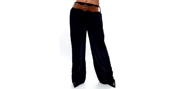 Dámské tmavě modré volné kalhoty s páskem Trois Quatorze